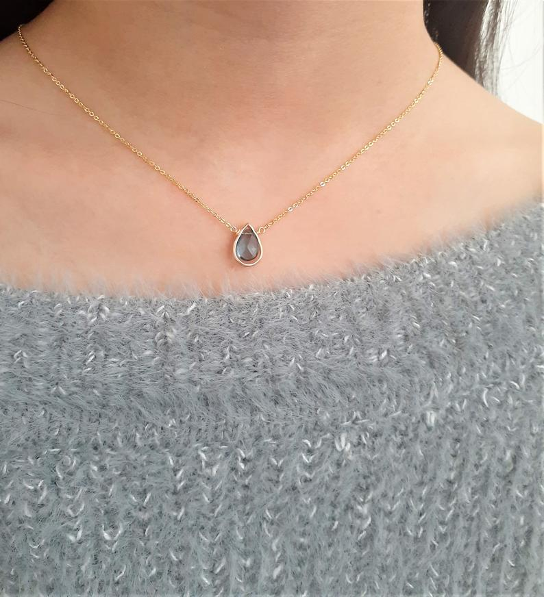 London Blue Topaz Pear Briolette Pendant Necklace