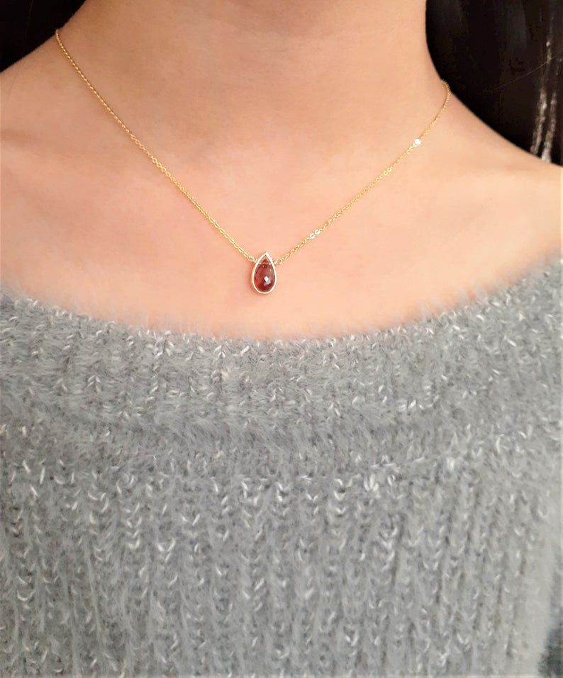 Garnet Pear Briolette Necklace