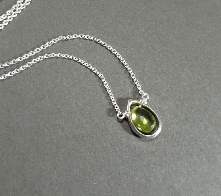 Peridot Pear Briolette Necklace