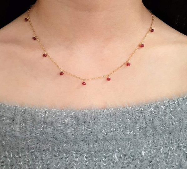 Ruby Drop Choker Necklace