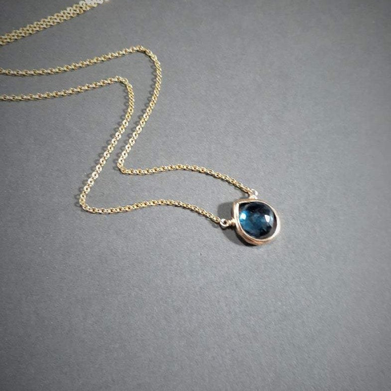London Blue Topaz Heart Shape Necklace
