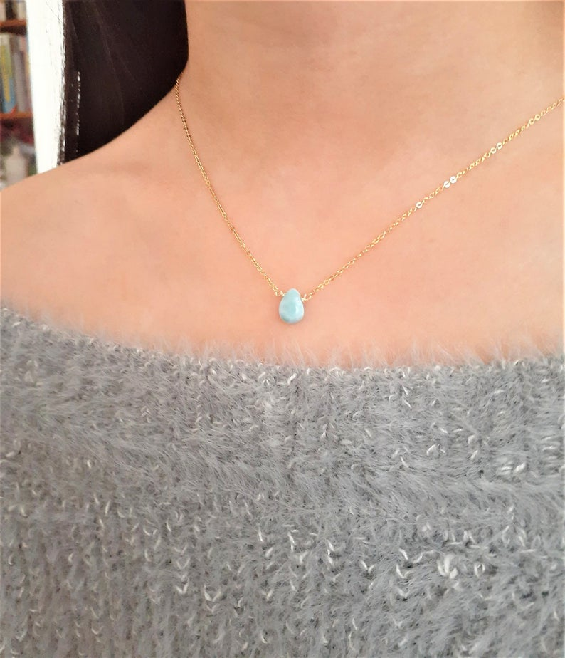Larimar Pear Shape Necklace