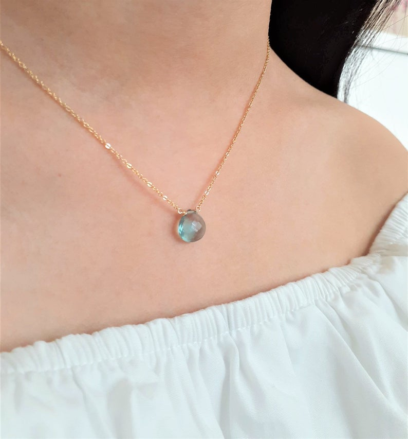 Flourite Heart Shape Briolette Necklace