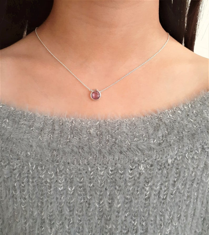 Amethyst Heart Briolette Necklace