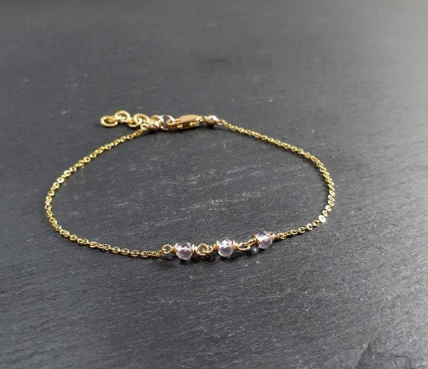 Dainty Pink Amethyst Anklet
