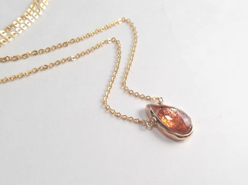 Gold Sunstone Pear Briolette Pendant Necklace