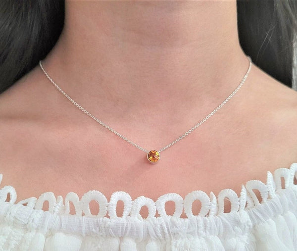 Golden Citrine Floating Necklace - Fidget Necklace