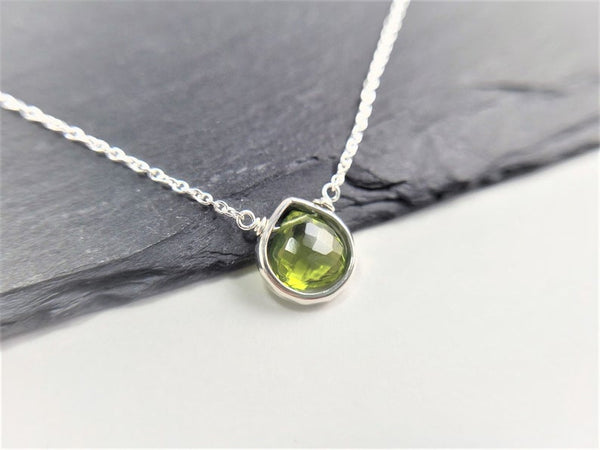 Peridot Heart Briolette Pendant Necklace