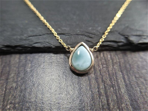 Larimar Pear Pendant Necklace