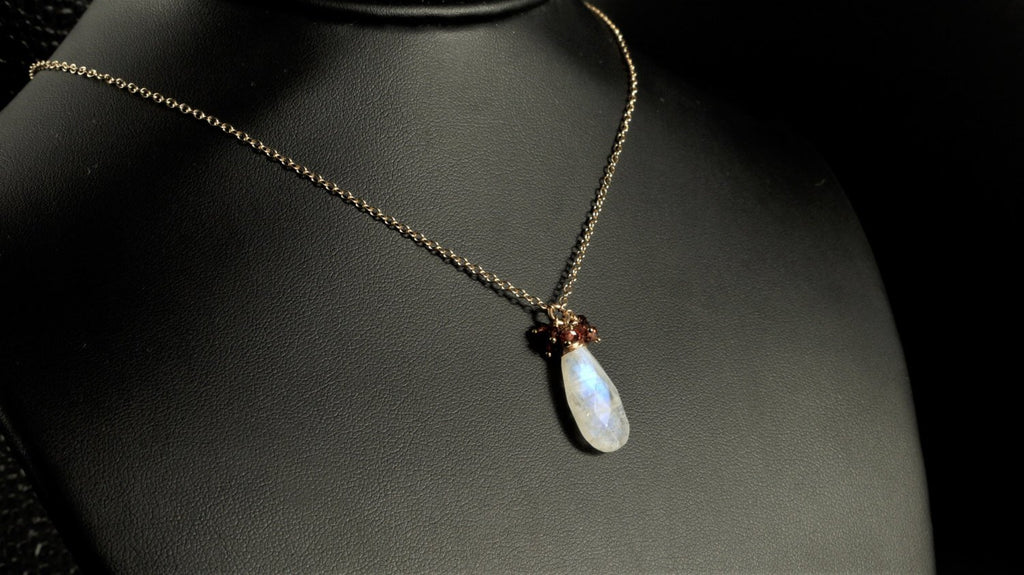 Rainbow Moonstone and Garnet Cluster Necklace Worn on The Vampire Diaries - Handmade Jewelry - January Birthstone, June Birthstone
