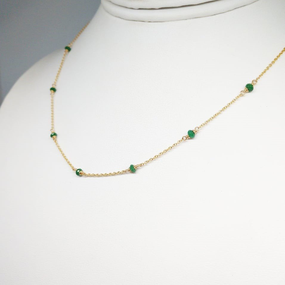 Genuine Emerald Necklace - 14k Gold Filled- May Birthstone - Handmade Jewelry - Emerald Jewelry - Layered Necklace - Birthstone Necklace - Dainty Necklace - Minimal Simple Delicate Gift for her (image 1)