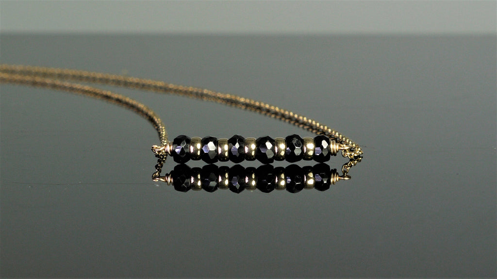 Natural Black Spinel Bar Necklace - August Birthstone - Worn on Quantico (image 1)