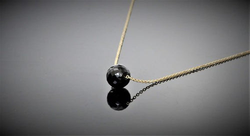 Black Spinel Floating Necklace - August Birthstone - Worn on Pretty Little Liars - Choice of 14k Gold Filled or Sterling Silver (image 1)