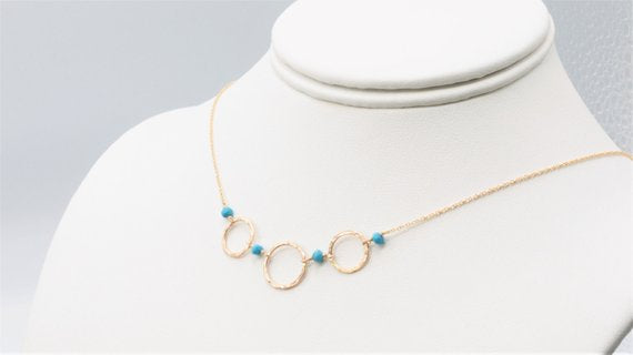 Sleeping Beauty Turquoise Hoop Necklace - Worn on Law & Order SVU - Handmade Jewelry - 14k Gold Filled