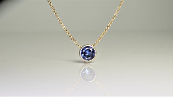 Tanzanite Floating Necklace, December Birthstone / Handmade Jewelry / 14k Gold Filled or Sterling Silver Chain / Simple Dainty Minimal (image 2)