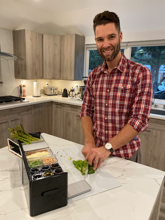 Alexander, Prepdeck founder, using Prepdeck in his home kitchen
