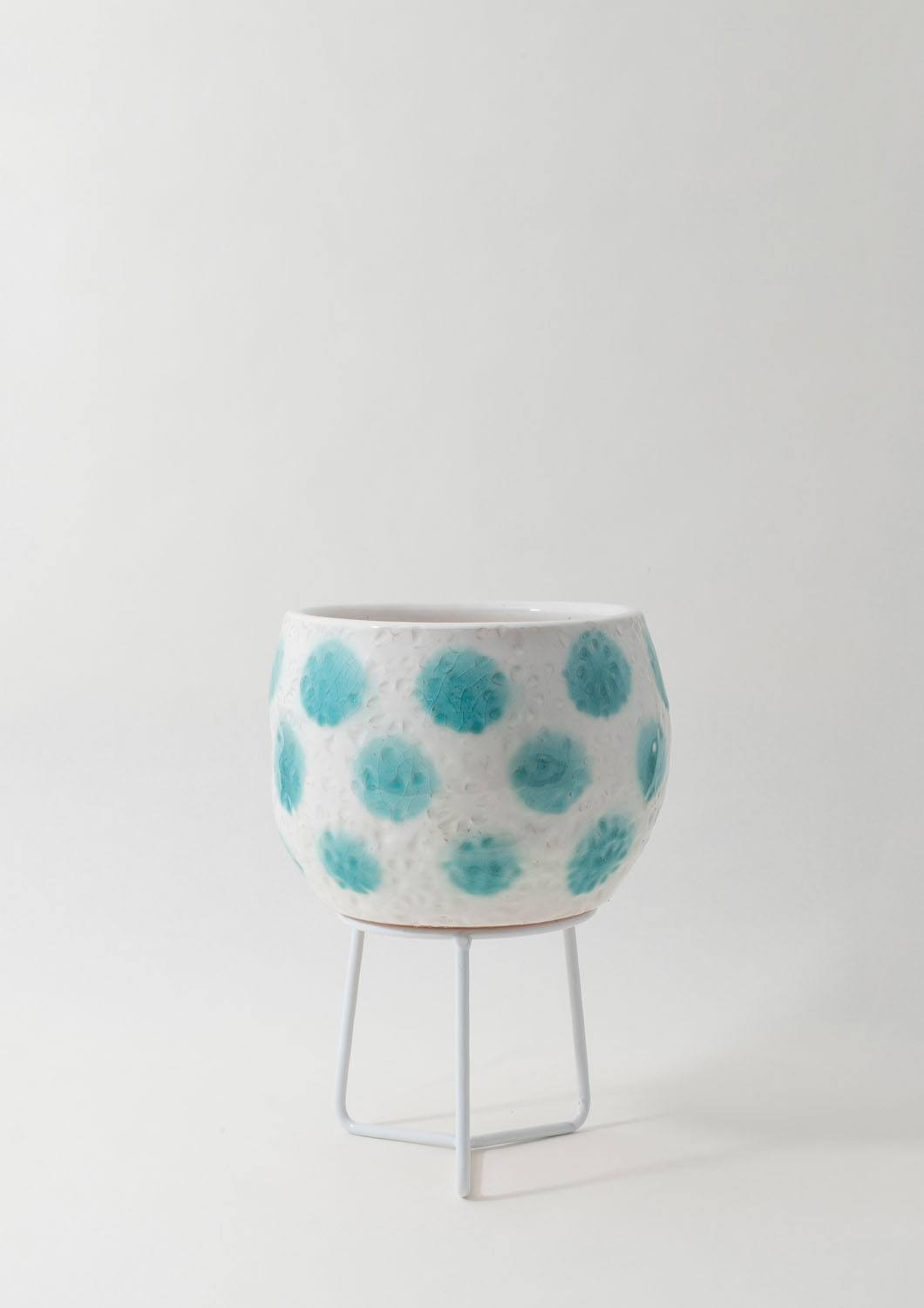 Hand-thrown Boulder Pot - Teal Green Spots