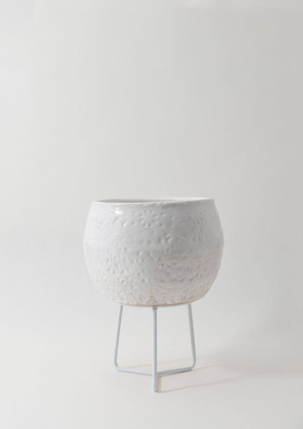 Hand-thrown Boulder Pot - Small White