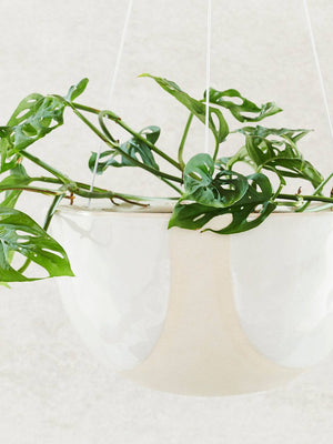 Riverstone Hanging Planter - Small White Half Moon