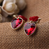 Quality Scape Women's Red Heart Pendant Rose Stud Earrings - Female Fashion Accessories