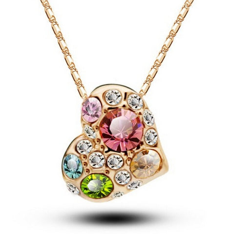 Quality Scape Women's Austrian Crystal Hollow Heart Pendant Necklace - White/Rose Gold - Fashion Jewelry