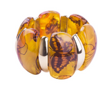 Quality Scape Women's Vintage Wide Butterfly Strand Bangle Bracelet - Colorful Clear Resin