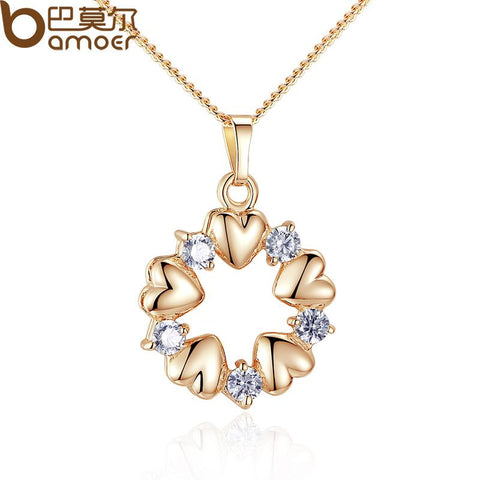 Quality Scape Women's BAMOER Luxury Gold Color Heart Necklaces & Pendants with AAA Zircon JIN018