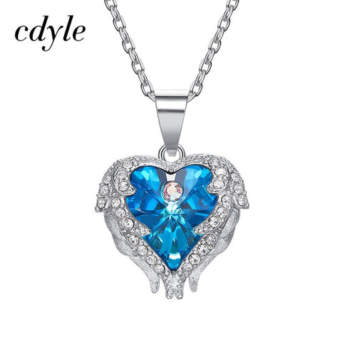 Quality Scape - Cdyle Women's Angel Necklace Real 925 Sterling Silver With Crystals from Swarovski - Fine Jewelry