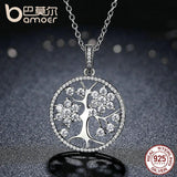 BAMOER Women's Tree of Life Round Pendant Necklaces 925 Sterling Silver - Fine Jewelry