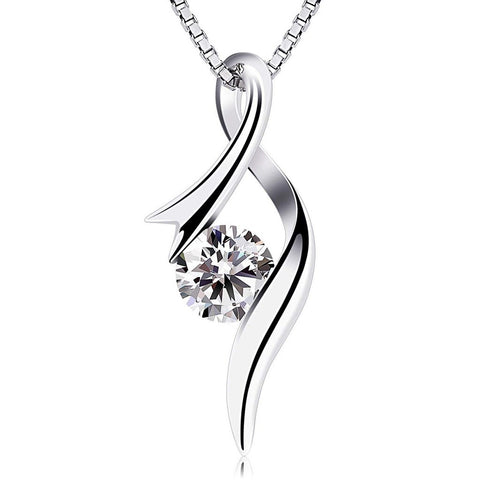 Quality Scape Women's Elegant Vintage Crystal Water Drop Silver Plated Pendant Choker Necklace, 18""