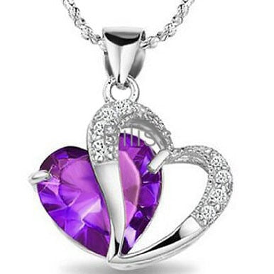 Quality Scape Women's Blue or Purple Heart Pendant Necklace 925 Sterling Silver With CZ Crystals - Ladies Jewelry