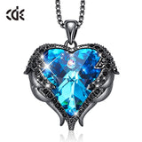 CDE Original Design Angel Wings Embellished with Crystals from Swarovski Heart Shape Pendant Necklace Fine Jewelry