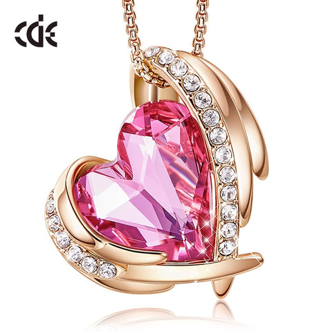 CDE 18K White/Rose Gold Plated Necklaces for Women Valentines Jewelry Gifts Heart Pendants Embellished with Crystals from Swarovski Necklace Without or With Gift Box