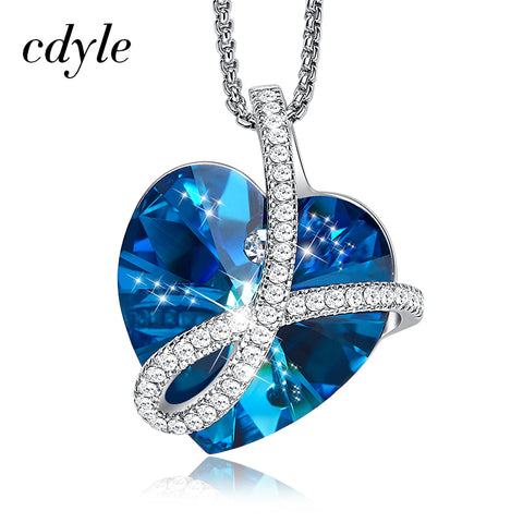 Cdyle Romantic Jewelry LOVE YOU FOREVER Bermuda Blue Crystal Heart Pendant Necklace with Pave Zircon for Her Birthday Gift