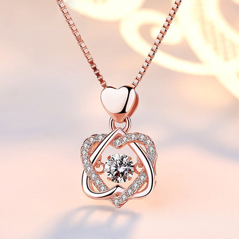 Quality Scape Women's and Girl's Fashion Romantic Double Heart Flower Pendant Necklace with Cubic Zirconia In Rose Gold And Silver