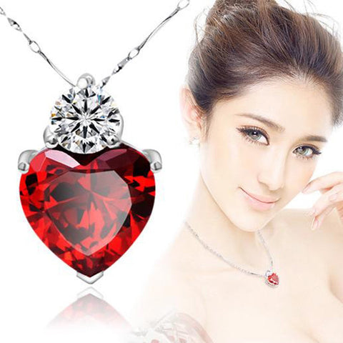 Quality Scape Women's Red Garnet Heart Crystal Pendant Necklace