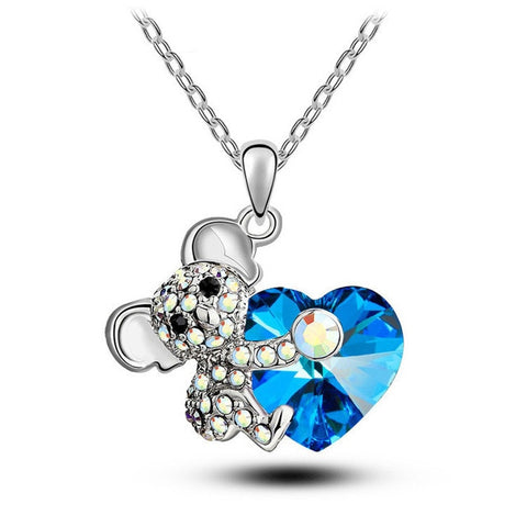 Quality Scape Women's Miss Lady Cute Koala Heart Pendant Necklaces Rose Gold With Rhinestones - Fashion Jewelry