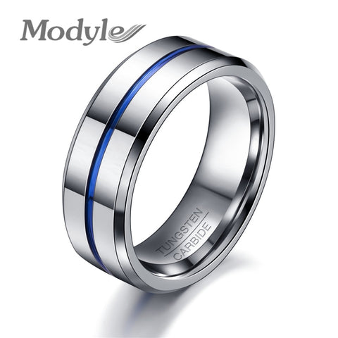 Qualilty Scape Men's Modyle Jewelry Thin Blue Line Wedding Rings 8mm Width Tungsten Carbide