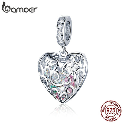 BAMOER Women's Romantic Openwork Heart Shape Pendant Platinum Plated onto 925 Sterling Silver