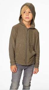COZY KNIT ZIP UP HOODIE W/ STRAPPINGS