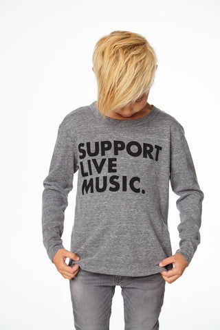 SUPPORT LIVE MUSIC LONG SLEEVE CREW NECK TEE