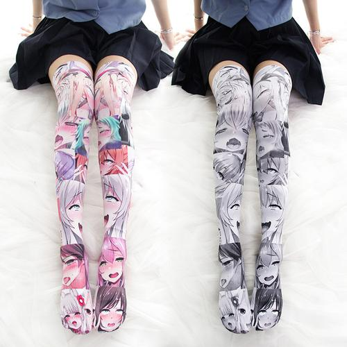 Anime Ahegao Multicolor Overknee Tights Socks - The Night