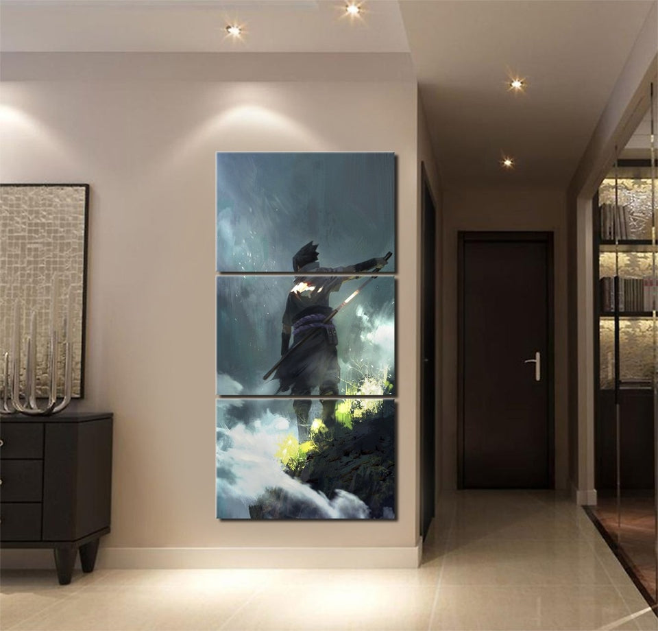 Home Decor Wall Art 3 Pieces Naruto Sasuke Uchiha Poster - The Night