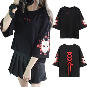 Japan Style Fox Cross Ribbon T-shirt - The Night