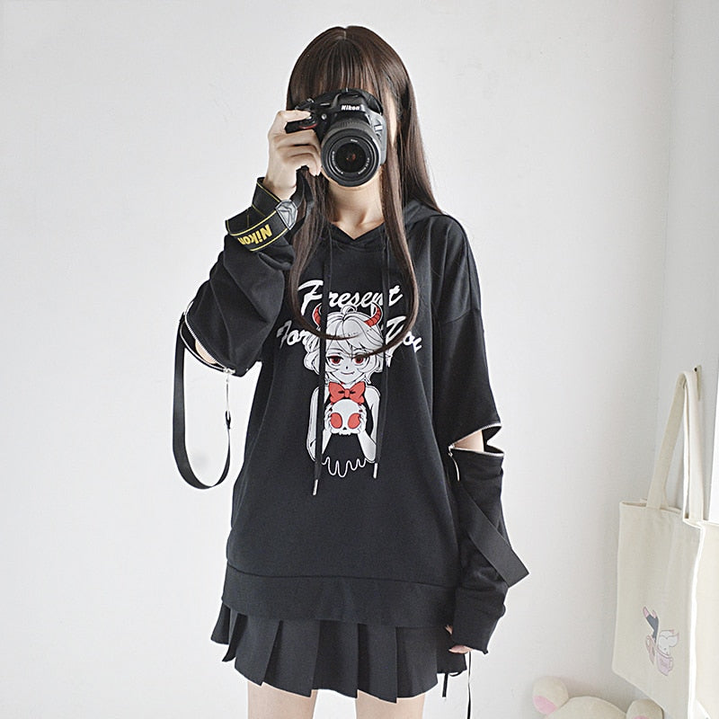 Japan Style Zipper Sleeve Coat Black Pullover Top Devil's - The Night