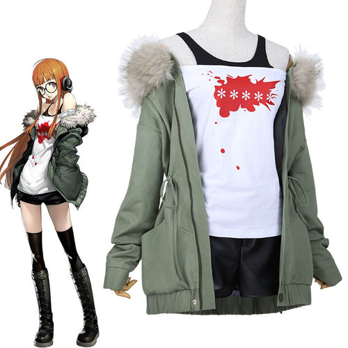 Persona 5 Futaba Sakura Cosplay Jacket + Shirt + Shorts - The Night