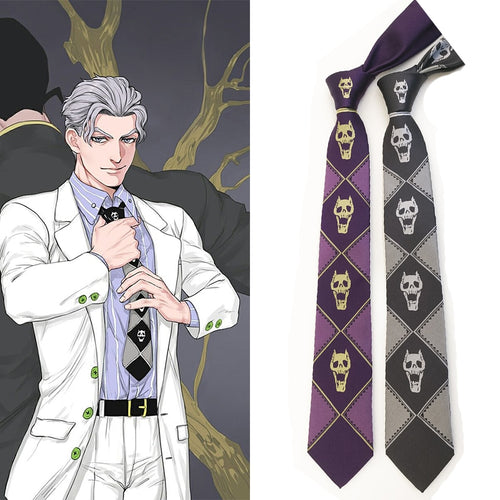 JoJo KILLER QUEEN Kira Yoshikage Skull Neck Tie Cosplay