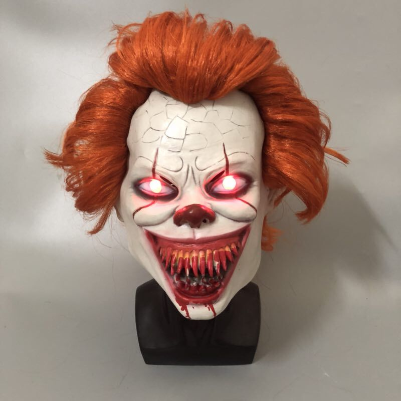 LED Scary Stephen King Latex Mask It Chapter 2 Pennywise Clown Halloween - The Night