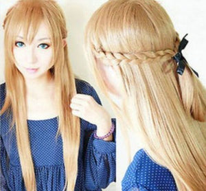 Sword Art Online Asuna Yuuki Braided Long Pale Gold Brown 80cm Cosplay Wig - The Night
