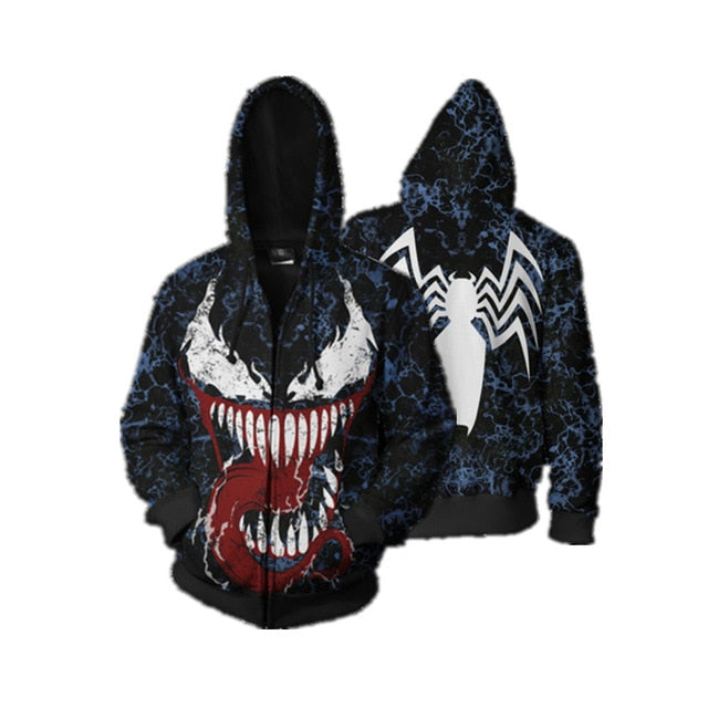 Venom Spiderman Cosplay Full Zip Hoodies - The Night